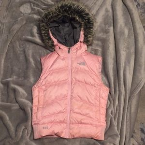 The North Face fur 550 down puffer vest jacket xs